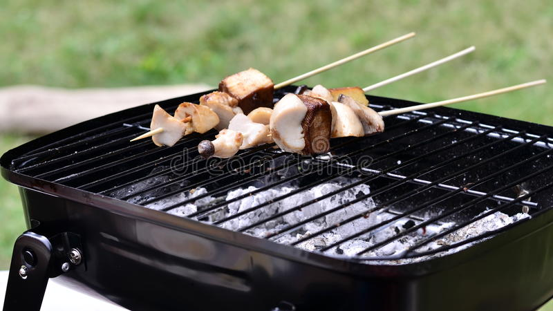 Mushroom barbecue. On sunny day royalty free stock photography