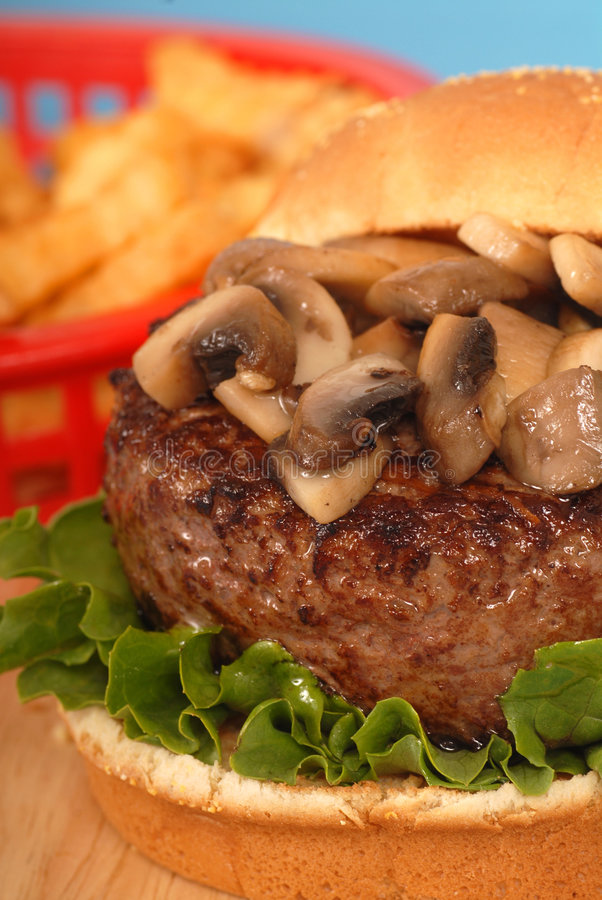 Free Mushroom Burger With French Fries Stock Photography - 9103922