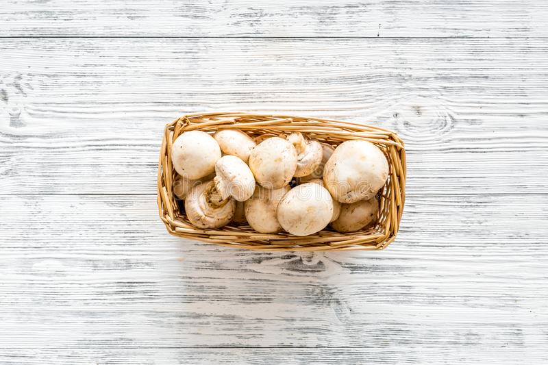 Mushroom champignons. Fresh raw whole champignons in basket on grey wooden background top view copy space stock images
