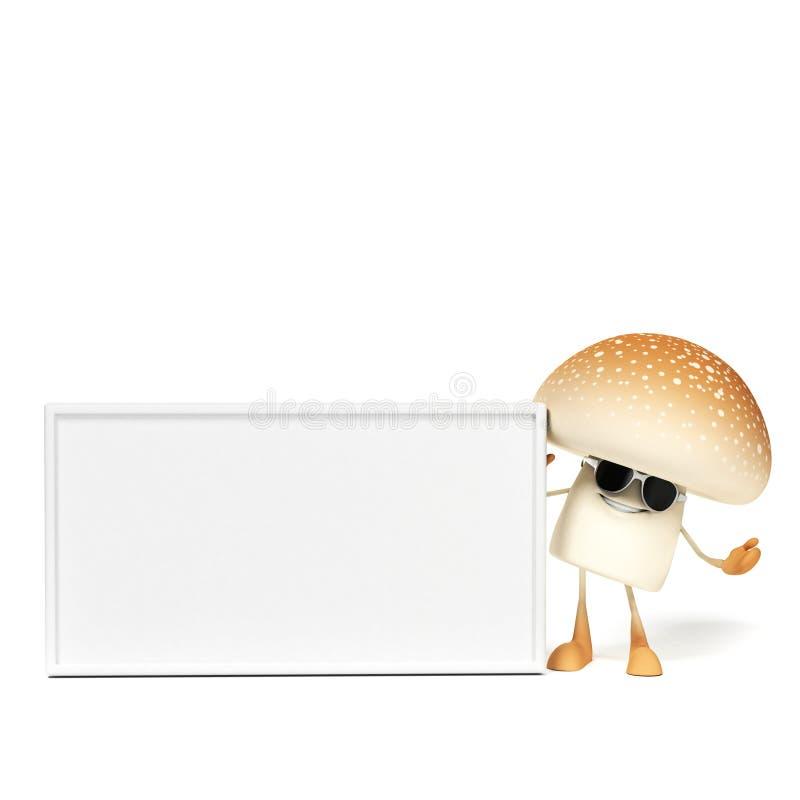 Mushroom character. 3d rendered illustration of a mushroom character royalty free illustration
