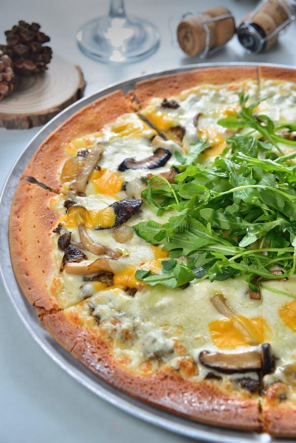 Mushroom cheese pizza pie stock photos