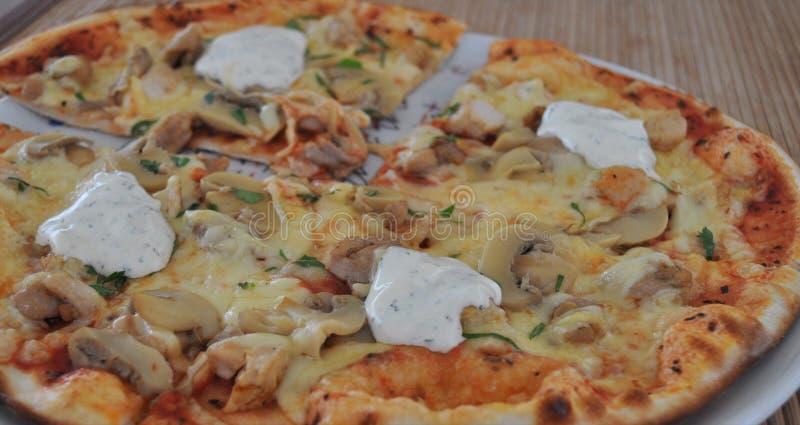 Mushroom and Chicken Pizza royalty free stock photos