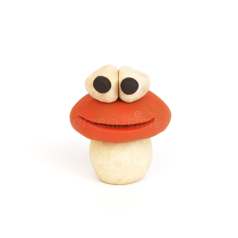 Mushroom, clay modeling. A character made from clay stock photo