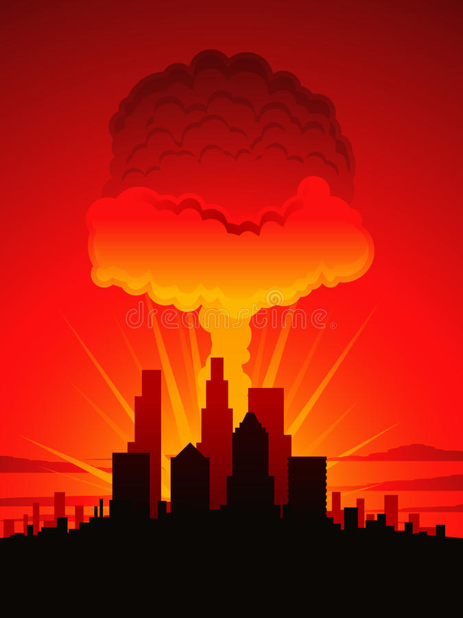 Mushroom cloud and city. Nuclear explosion over a large American city stock illustration