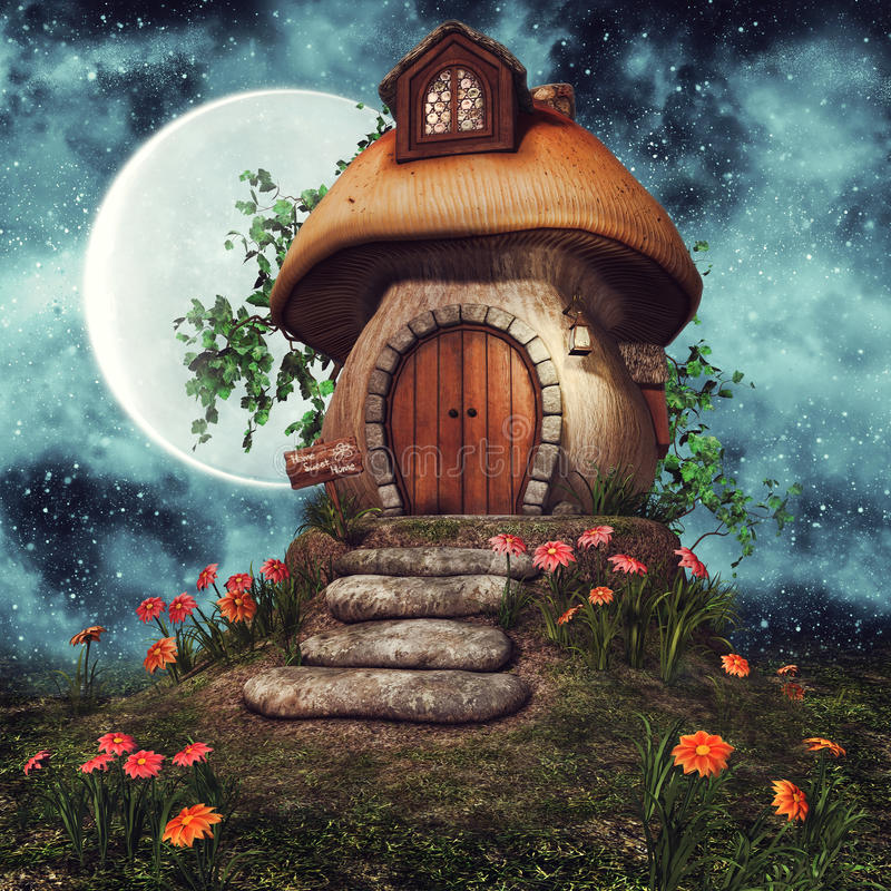 Mushroom cottage with flowers stock illustration