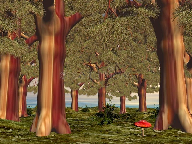 Mushroom in the forest - 3D render royalty free illustration