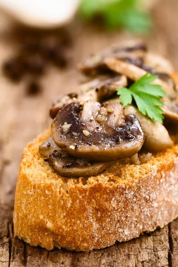 Mushroom and Garlic Bruschetta royalty free stock photography