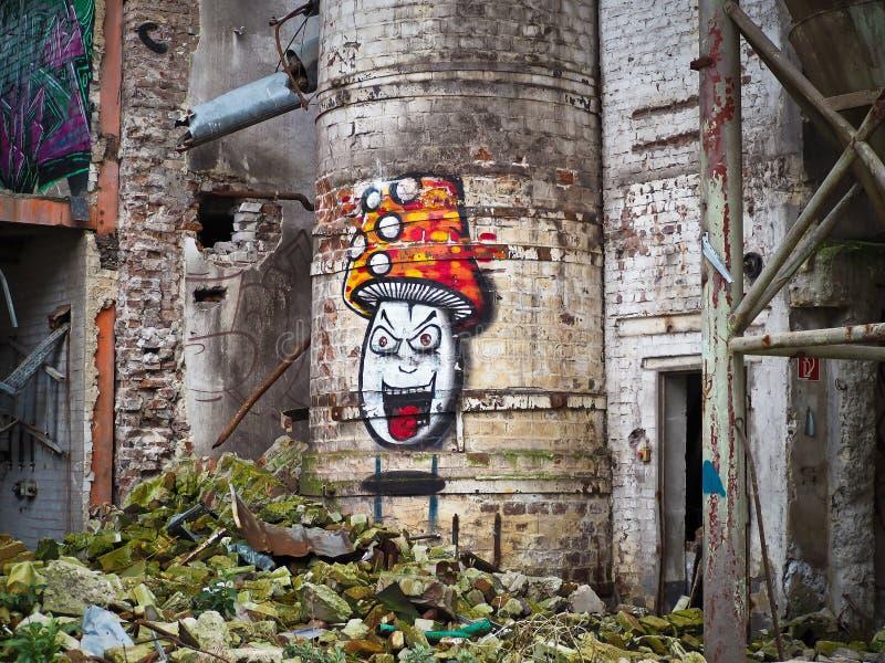 Mushroom Graffiti On Concrete Building During Daytime Free Public Domain Cc0 Image