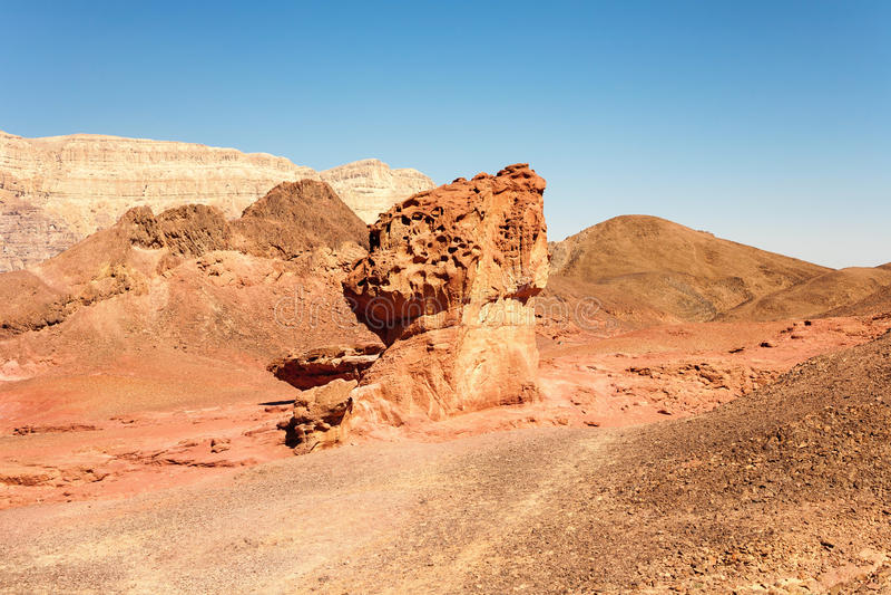 The Mushroom and the half sandstones in the Negev desert, Timna stock photo