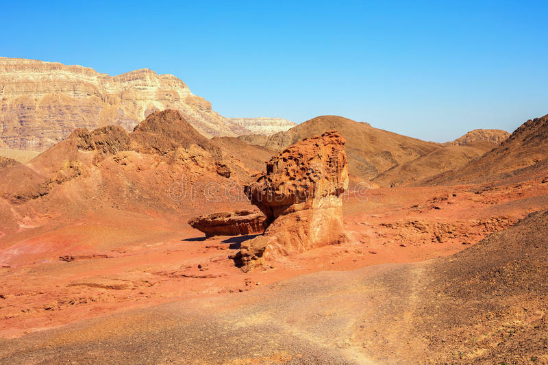 The Mushroom and the Half sandstones in Timna Park stock images