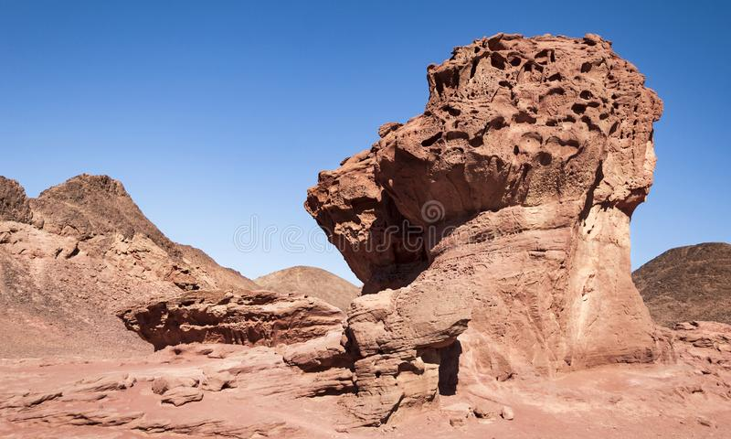 The Mushroom and a Half in Timna Park in Israel stock photo