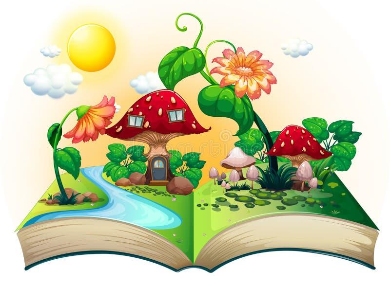 Mushroom house book stock illustration