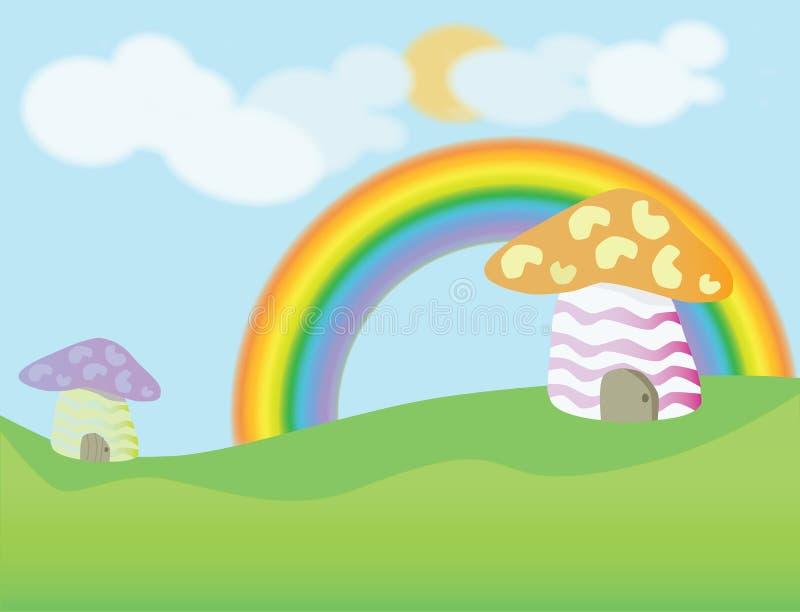 Mushroom house cartoon background royalty free stock photos