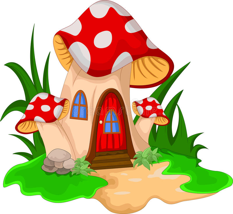 Mushroom house with a garden of flowers stock illustration