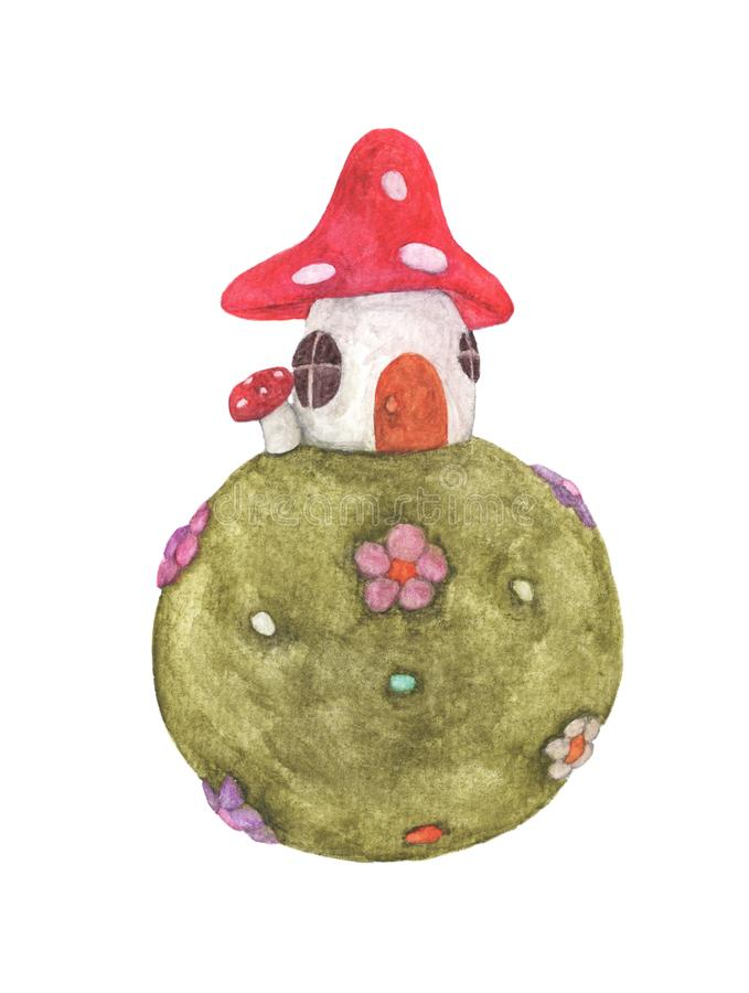 Mushroom house on Green grass ball with flowers. royalty free stock images