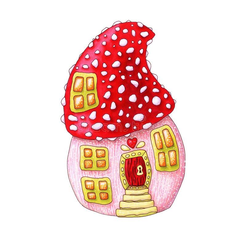 Mushroom house hand drawn fairytale illustration vector illustration