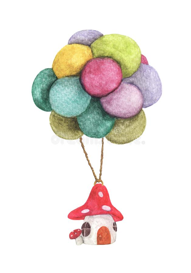 Mushroom house hanging with colorful balloon, business concept and asset management idea. stock images
