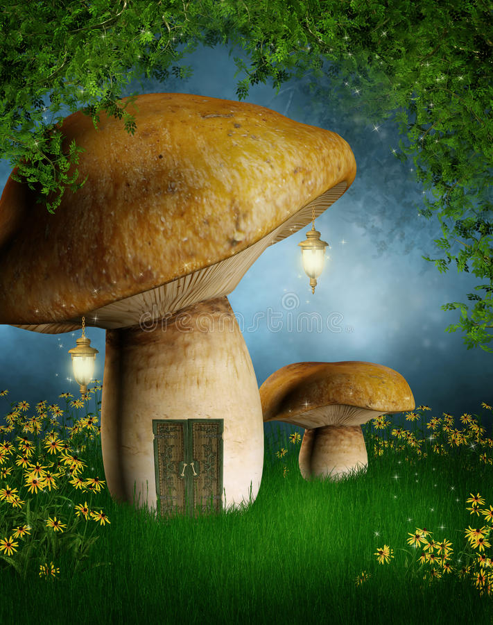Mushroom house with lamps royalty free illustration
