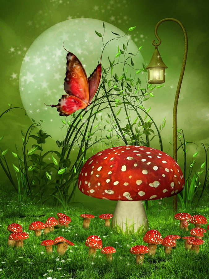 Mushroom meadow and butterfly vector illustration