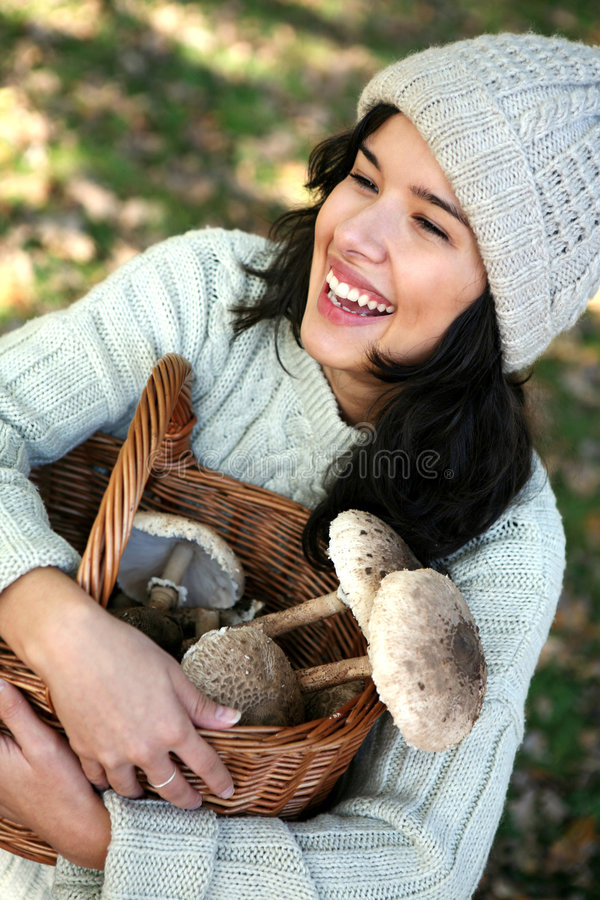 Mushroom picking royalty free stock photo