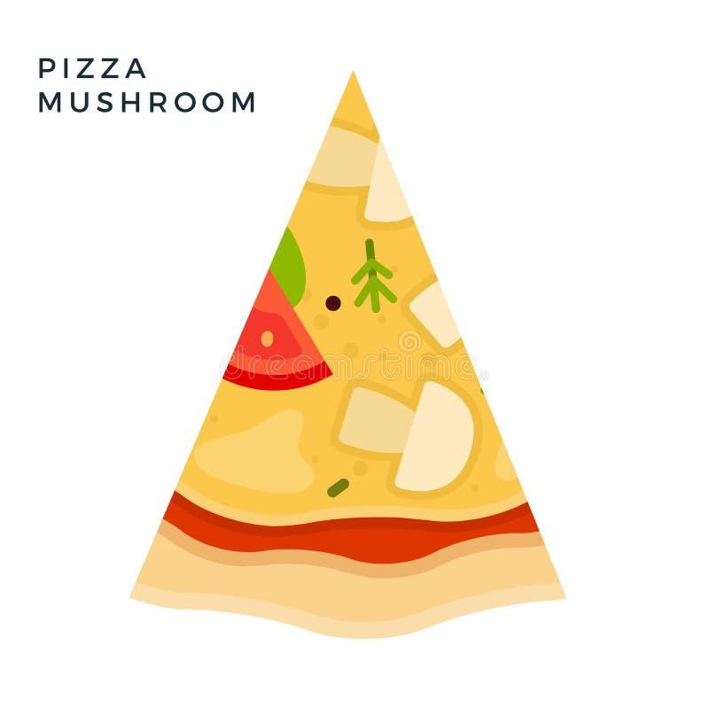 Mushroom Pizza flat ikon vektor isolerad royaltyfri illustrationer