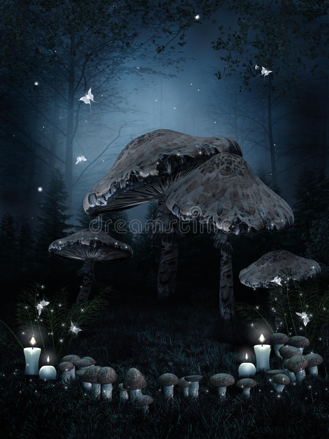 Mushroom ring and candles. Enchanted forest with a mushroom ring and candles stock illustration