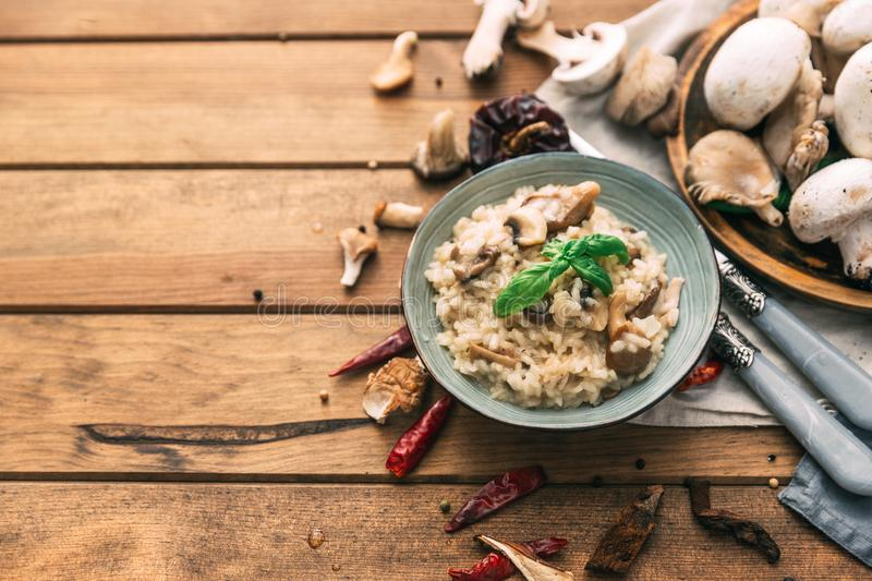 Mushroom risotto, shot from above on dark rustic textures royalty free stock photos
