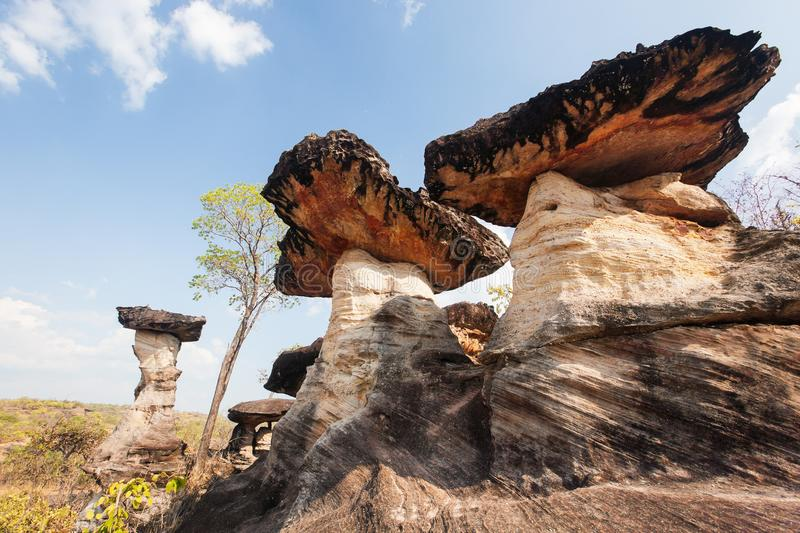 Mushroom rock. Fantasy shape of ancient stone with primitive for stock photos