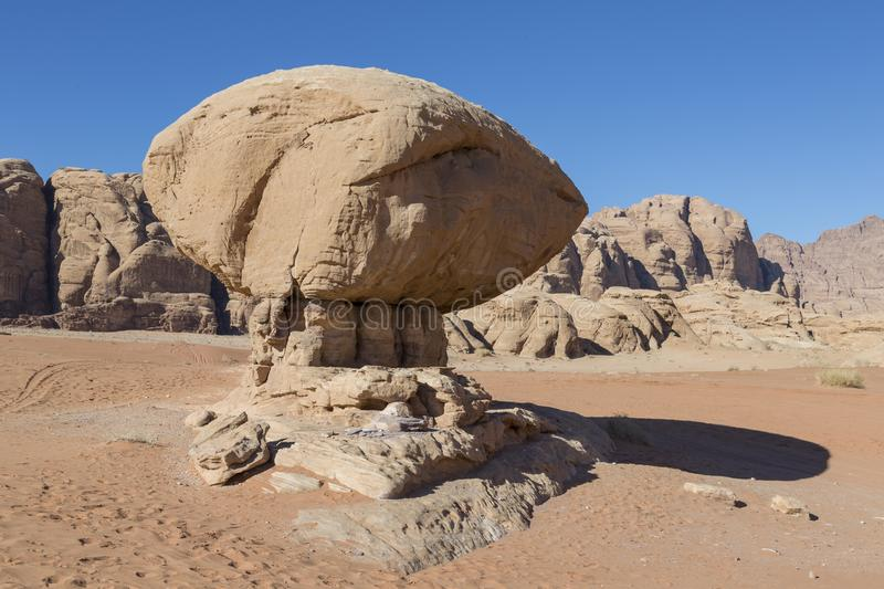 Mushroom rock in Wadi Rum desert - Valley of the Moon. In Jordan stock images