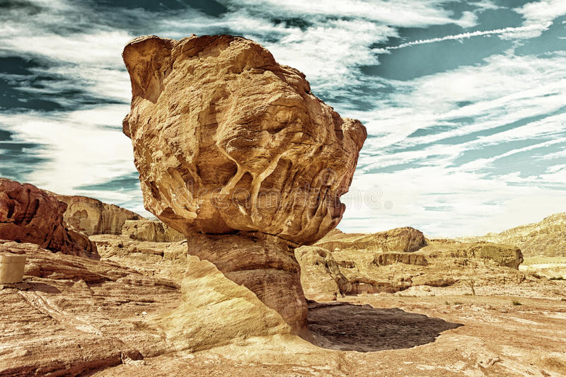 The Mushroom Sandstone in Timna Park HDR. The Mushroom sandstone geological attraction in Timna Park, Israel HDR image with black gold filter royalty free stock photography