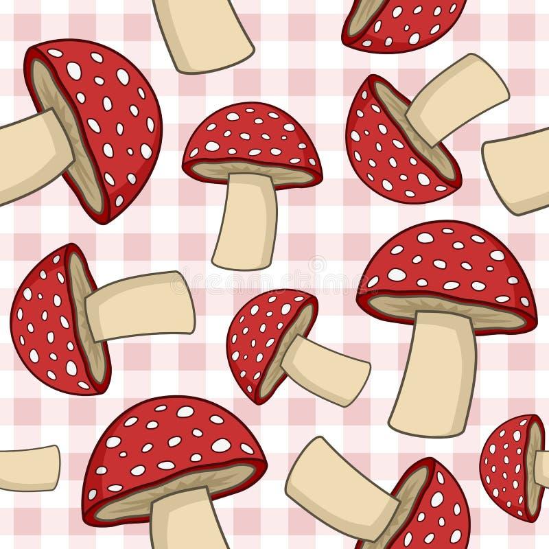 Mushroom Seamless Pattern on Tablecloth royalty free illustration