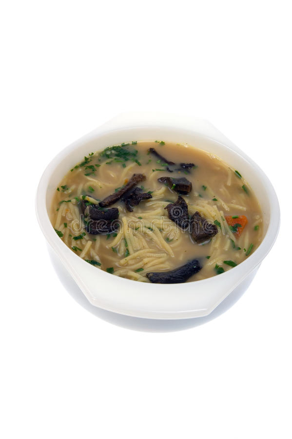 Mushroom soup. Home made mushroom soup isolated on white stock images