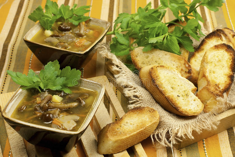 Mushroom soup in ceramic bowls. Home made mushroom soup with potato and carrot royalty free stock images