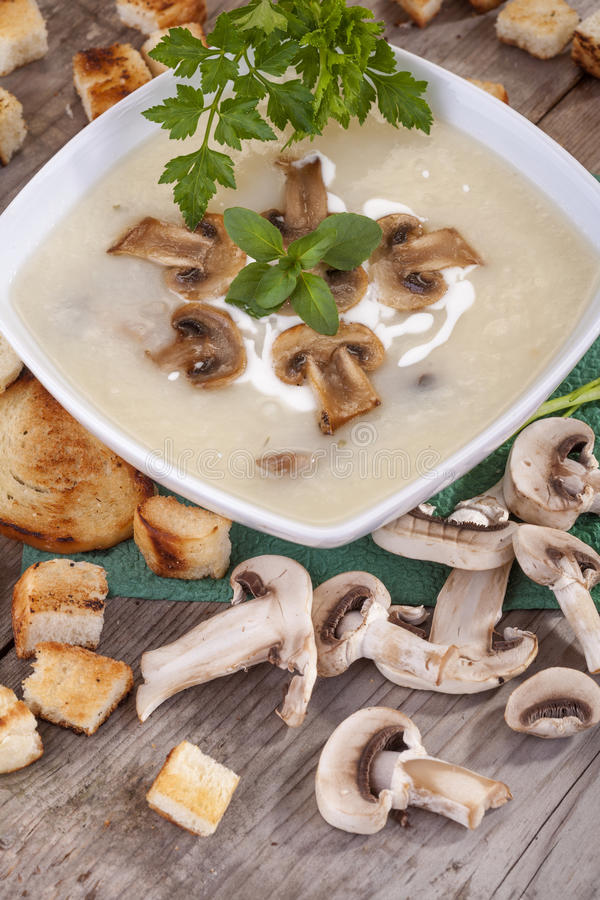 Mushroom soup. Domestic mushroom soup with cream and toasted bread royalty free stock photography