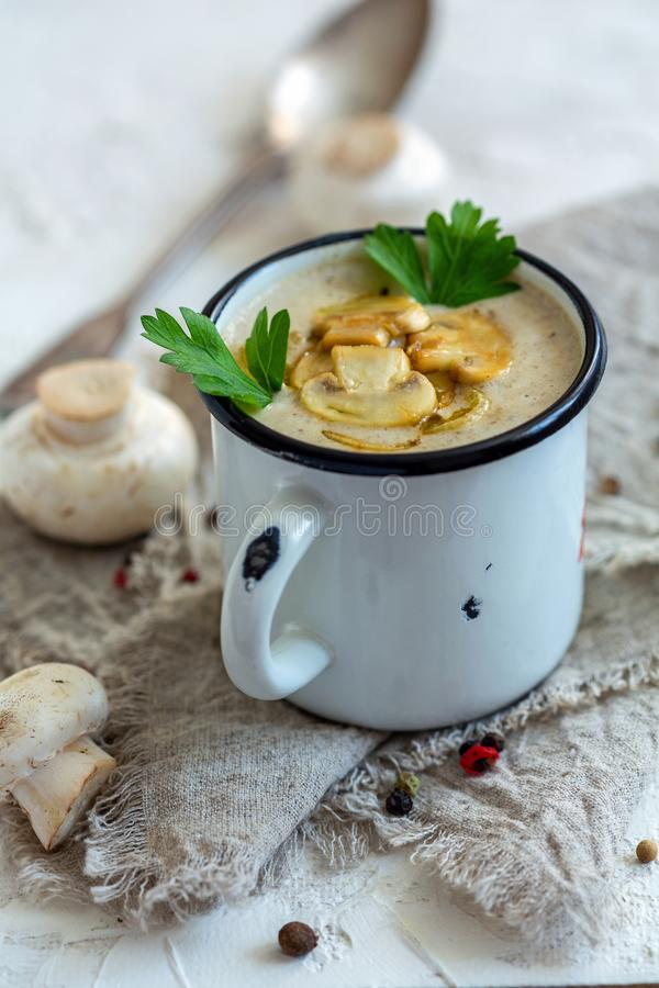 Mushroom soup with fried mushrooms and shallots. royalty free stock photos