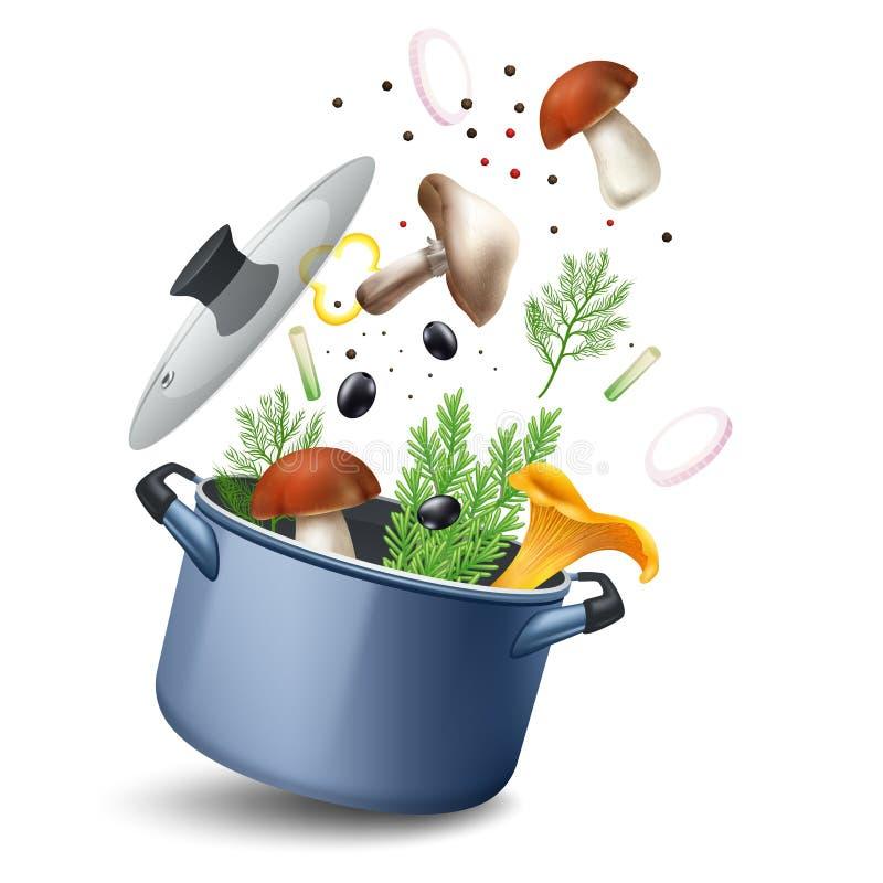Mushroom Soup Pot Composition stock illustration