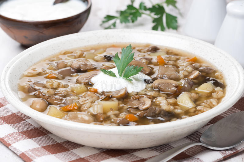 Mushroom soup with vegetables and pearl barley, close-up stock photography