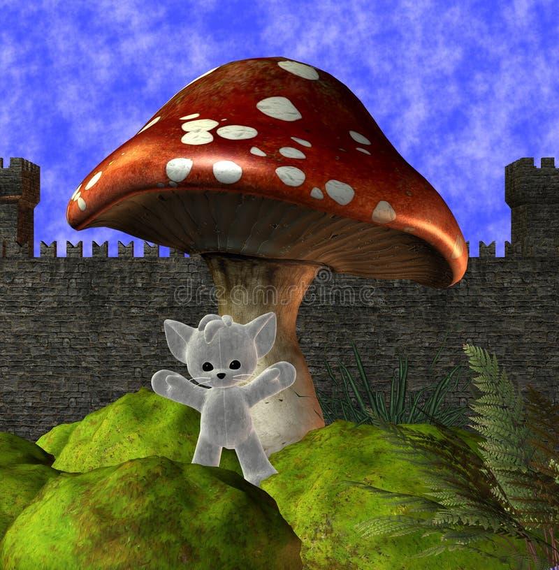 Mushroom & teddy bear royalty free illustration