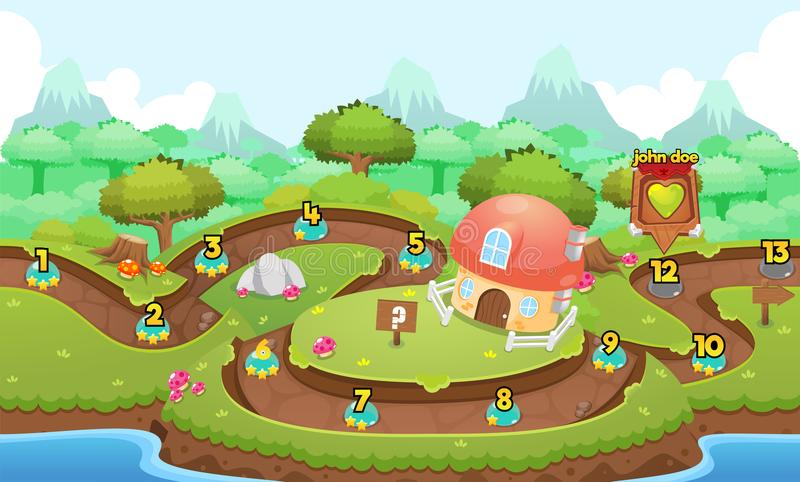 Mushroom Village Game Level Map vector illustration