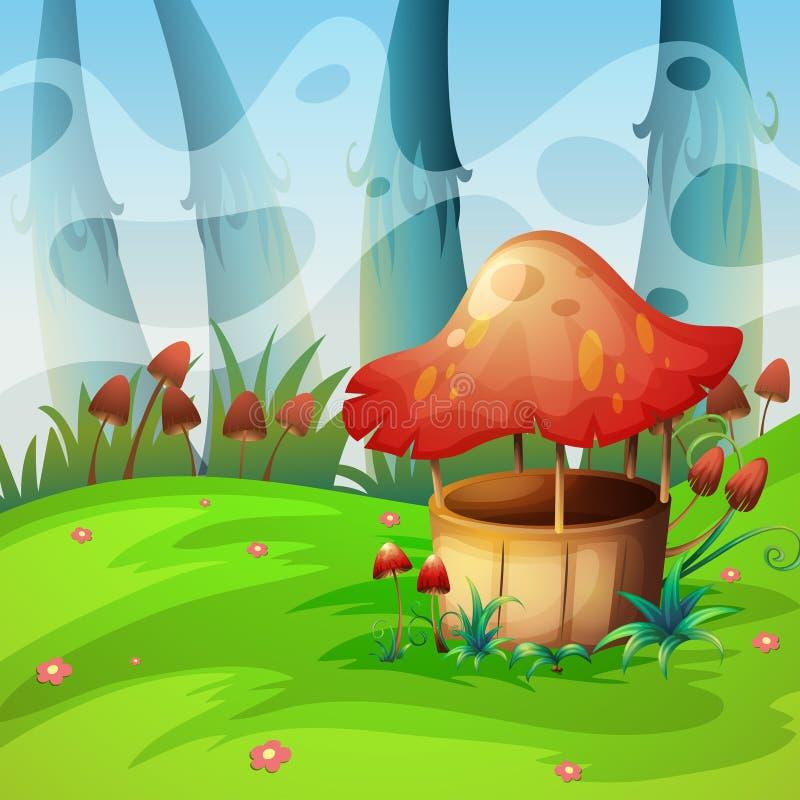 Mushroom will in the field. Illustration royalty free illustration
