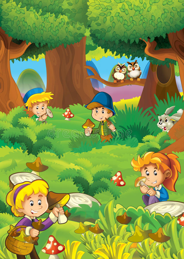 Download The Mushrooming In The Wood - Illustration For The Children Stock Illustration - Image: 33373767