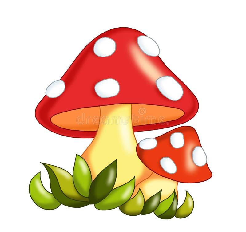 Mushrooms. Digital illustration of colored mushrooms