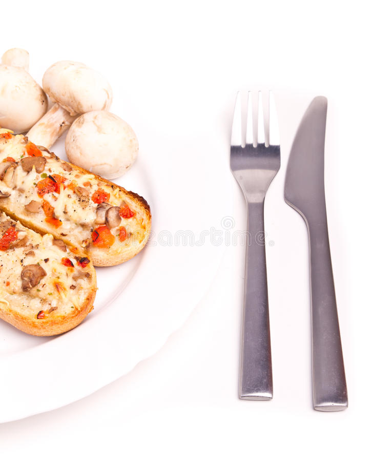 Mushrooms baguette royalty free stock photography