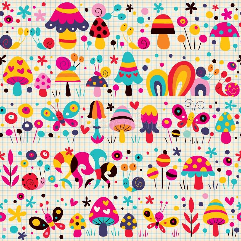Mushrooms, butterflies & snails pattern royalty free illustration