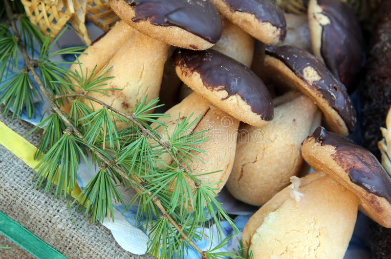 Mushrooms cookies with chocolate stock photography