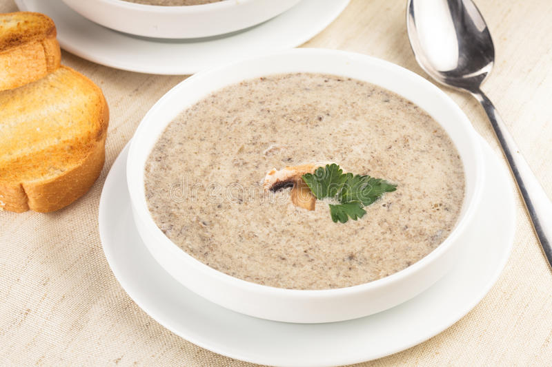Mushrooms cream soup. With croutons - dried white loaf stock image