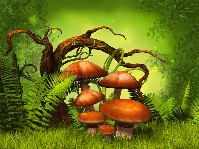 Mushrooms fantasy forest stock illustration