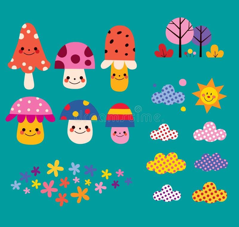 Mushrooms, flowers, clouds, nature design elements set vector illustration