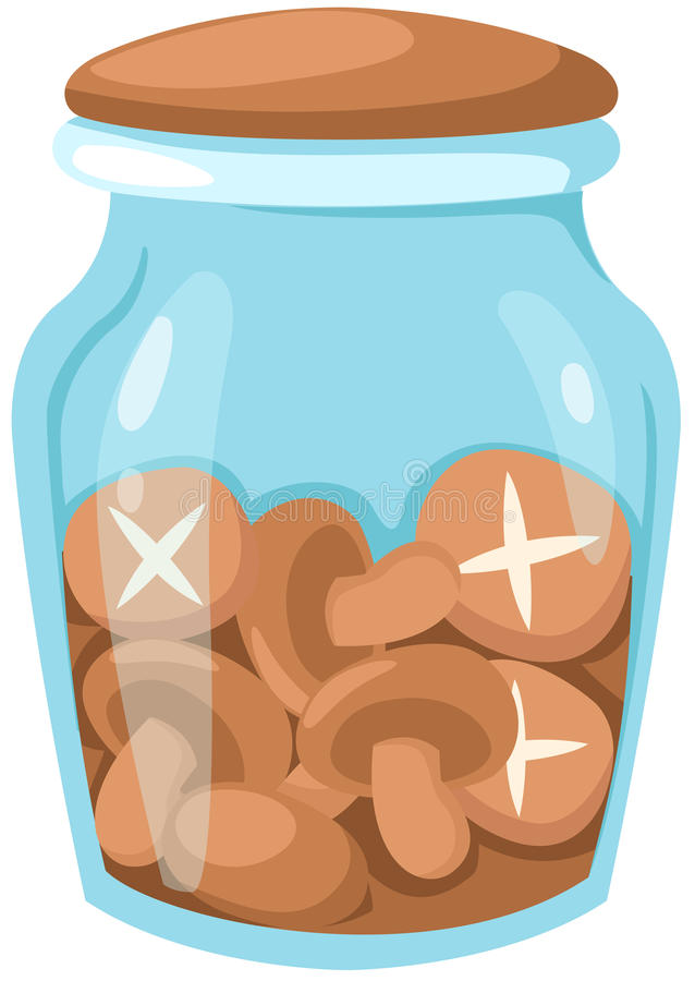 Mushrooms In Glass Jar Stock Photos