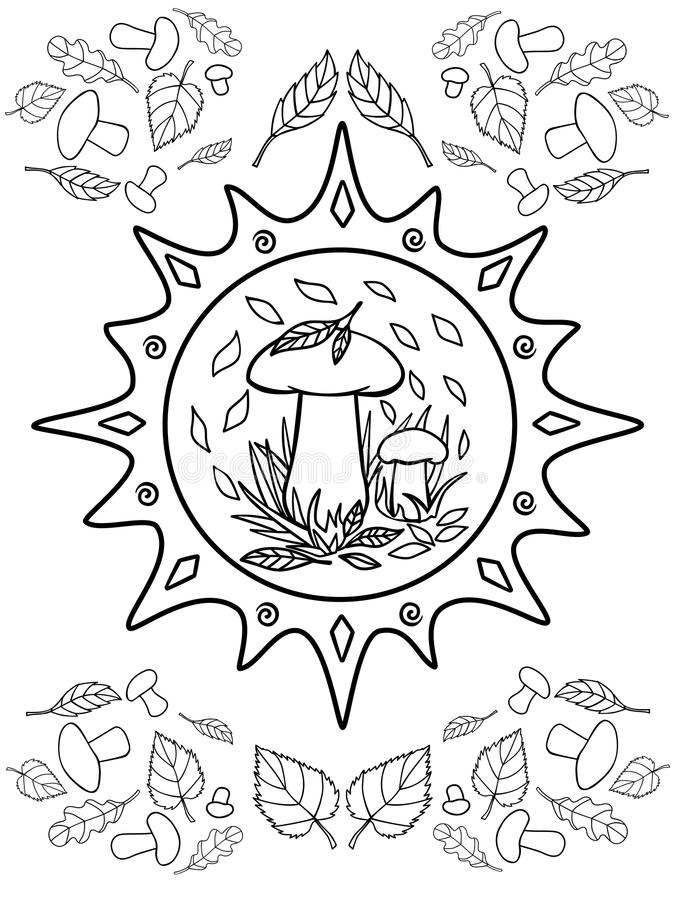 Mushrooms and leaves. Autumn. Coloring for children and adults. Mushrooms, grass and autumn leaves. Sun with ornament vector illustration